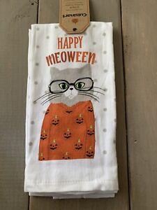 """CUISINART 2 PACK KITCHEN TOWELS Halloween Cat """"Happy Meoween"""" 100% COTTON"""
