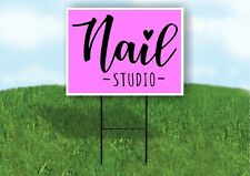 Nail Studio Pink Plastic Yard Sign Road Sign With Stand