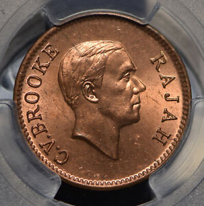 Sarawak 1937 Cent PCGS MS64RD rare in red PC0485 combine shipping
