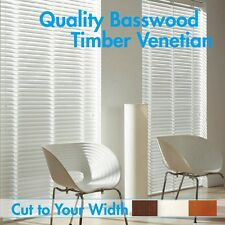 New 50mm Basswood Timber Venetian Blinds 90X90cm- WHITE