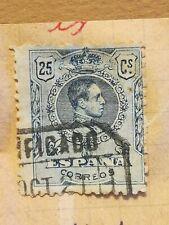 N°334 Timbre oblitéré à décoller BE Espagne 1921 Alfonso 25c bleu