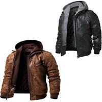 Hooded Real Leather Jacket for Men Bomber Biker Real Sheep Skin Black Brown