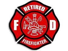 4x4 inch Red RETIRED FIREFIGHTER Maltese Cross Sticker -FD decal fire fireman