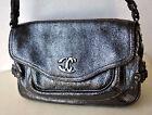 Roberto Just Cavalli Designer Distressed Metallic Leather Handbag Bag Purse Rare