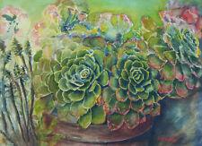 "Echeveria Succulent Green Archival Art Print Watercolor Painting ""Wild & Free"""