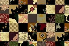 Quilt Gate Hyakka Ryoran Neko Cat Squares HR3110Y-13D w/Gold Metallic BTY