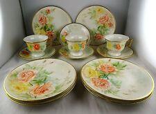 3 Limoges Floral Demitasse Sets + 6 Dessert Plates - Similar Floral Decoration