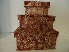 Set Of 3 Stacking Boxes Sheer Burgundy Fabric With Metallic Design