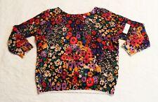 Anthropologie Women's Fuzzy Floral Print Pullover Sweater FR7 Multi Medium NWT