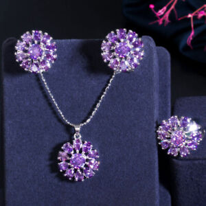 Cubic Zircon Red Crystal Big Flower Earrings Necklace Ring Set for Party Costume