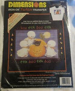 """NEW Vtg Dimensions 80018 """"Ghosts and Kitten"""". Halloween Iron-On Shirt Transfer"""