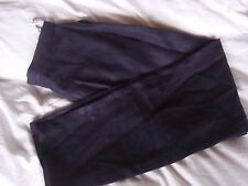 On-trend Joyce Ridings 80s vibe Navy Blue 100% Linen Tapered Trousers 12 10