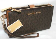 New Michael Kors MK Signature Double Zip Phone Case Wallet Wristlet Brown