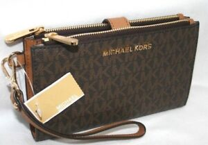 New Michael Kors MK Signature Double Zip Phone Case Wallet Wristlet Brown