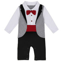 Newborn Baby Boys Formal Suit Gentleman Romper Wedding Tuxedo Outfit Clothes Set