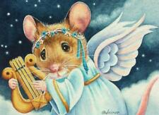 ACEO Limited Edition Print Christmas Angel Mice Mouse Lyre Harp Stars J. Weiner
