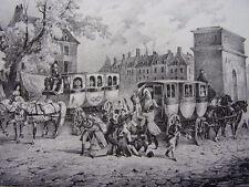 "LITHOGRAPHIE CH.Motte "" OMNIBUS ET DAMES BLANCHES "" 1860"