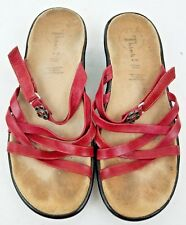 Think! 39 Red Leather Slip On Women's Sandals Size 8.5