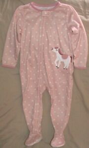 CARTERS PINK & WHITE FOOTED SLEEPER WITH HORSE & BUTTERFLY-SIZE 5T/5A-NWT