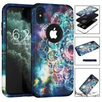 Rugged Armor Flower Hard Case Shockproof Durable Cover For iPhone X XR XS Max