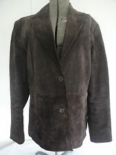 SIENA Brown Suede Leather Long Sleeve Button Up Lined Blazer Jacket Coat Size 12