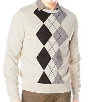 Dockers Men's Center Argyle Crewneck Pullover Sweater gift, Beige, S, XL, XXL