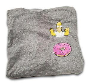 Men's The Simpsons Short Sleeve Graphic T-Shirt  Homer & Donut - Gray - Medium