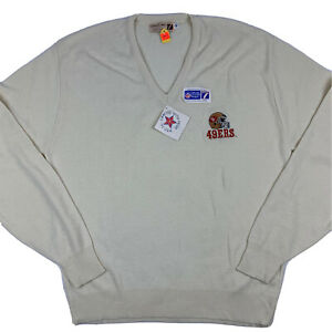 VTG 80s LOGO 7 San Francisco SF 49ers Pullover V-Neck Sweater Men XL X-Large NEW