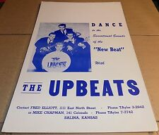 Rare 1960s Midwest rock & roll concert poster THE UPBEATS Kansas FENDER GUITARS