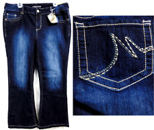 Maurices dark blue plus size washed off straight fit fare denim jeans 13/14 Reg