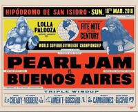2018 Pearl Jam Lollapalooza 3/18 Buenos Aires Argentina Concert Poster Vedder
