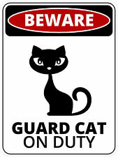 """#892 3"""" (1) Beware of Cat Very Angry Cat Guard Cat Decal Sticker LAMINATED B&W"""