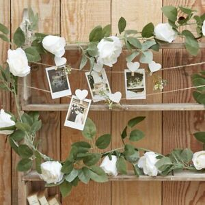 Ginger Ray garland 2 metres artificial white rose foilage CW-203