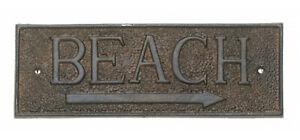 Beach Arrow Directional Wall Sign Metal 9.5 Inch Cast Iron