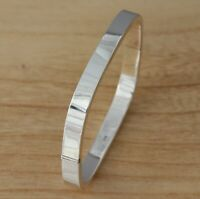 Solid 925 Sterling Silver Square Bangle Bracelet Plain 6mm Heavy UK Hallmarked