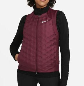 Nike Women's AeroLoft Running Vest Packable Maroon/Silver CZ1607-638 NWT Large