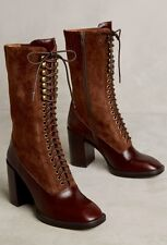 NIB Anthropologie Jeffrey Campbell brown Leather Suede Mid Calf Lace Up Boot 5.5