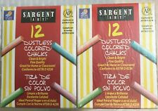 NEW Assorted 12 Box Pack of Sargent Art DUSTLESS 12 Color Chalkboard Chalk