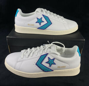 NEW Converse Pro Leather Ox White Purple Blue Shoes Sneakers Low Mens Size 11.5