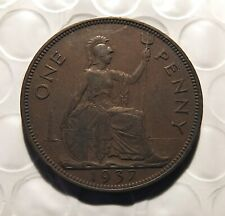 Uk - Great Britain 1937 One Penny- George Vi - Nice Circulated Km#845 Sge