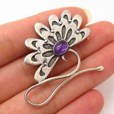 925 Sterling Silver Vintage Real Amethyst Gem Floral Design Pin Brooch