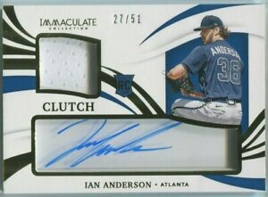 Ian Anderson 2021 Panini Immaculate Rookie Patch Autograph 27/51 RC Auto Swatch