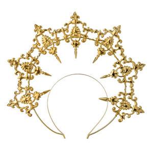 Women Baroque Cross Goddess Halo Crown Tiara Headband Virgin Mary Headpiece