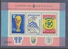 Uruguay C438 1979 World Cup souvenir sheet 1978 Argentina 1982 Spain H cv $40
