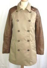 I. CODE IKKS - MANTEAU TRENCH M. LONGUES BEIGE & CUIR MARRON T 36 - COMME NEUF
