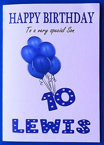 PERSONALISED 10th Birthday Card, BOY, Balloons, TENTH Birthday Card Age 10