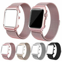 Milanese Stainless Steel iWatch Band Strap With Case For Apple Watch 42mm 38mm