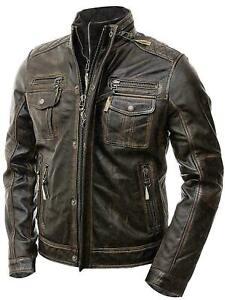 Mens Distressed Motorcycle Retro Genuine Vintage Cafe Racer Leather Jacket - B1