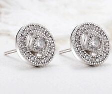 14K REAL WHITE GOLD FILLED STUD EARRINGS MADE WITH  SWAROVSKI CRYSTALS SW8
