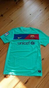 Nike Barcelona FCB Away Green 2010 Football Shirt Jersey Top Unicef Size Medium